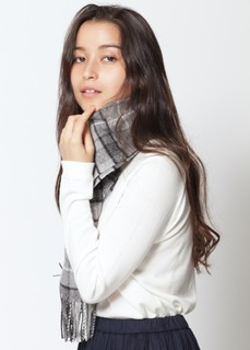 tartan scarf【ウール素材】 Grey Buchanan Johnstons - Wool collection - (122911)